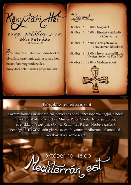 Októberi programok Bőcsön